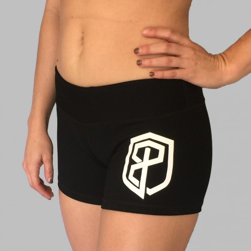 Black booty short white logo1